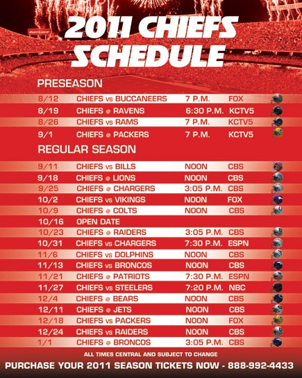 2011 Chiefs Schedule Released Four Prime Time Games